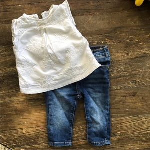 Zara baby shirt and 7 for all mankind skinny jeans